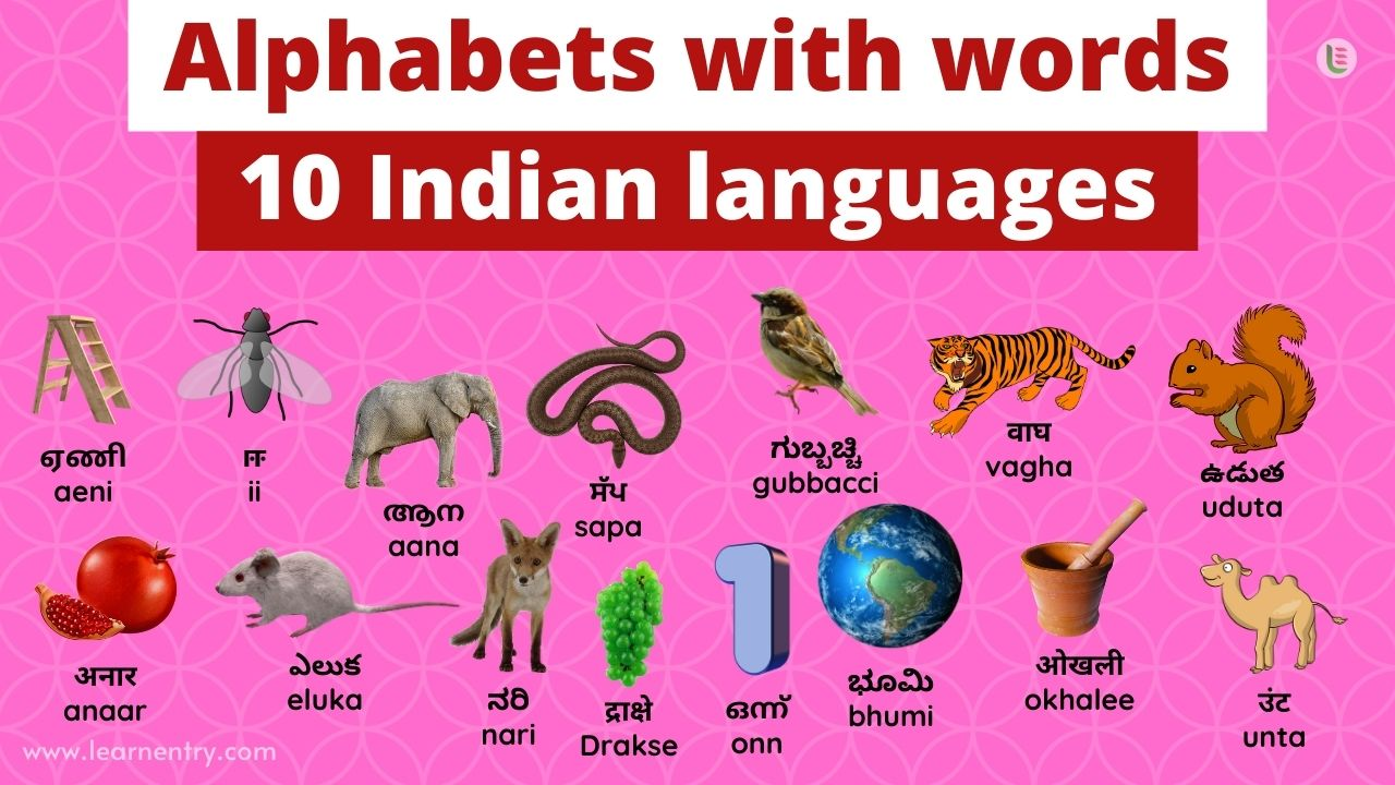Alphabet with words in Indian languages