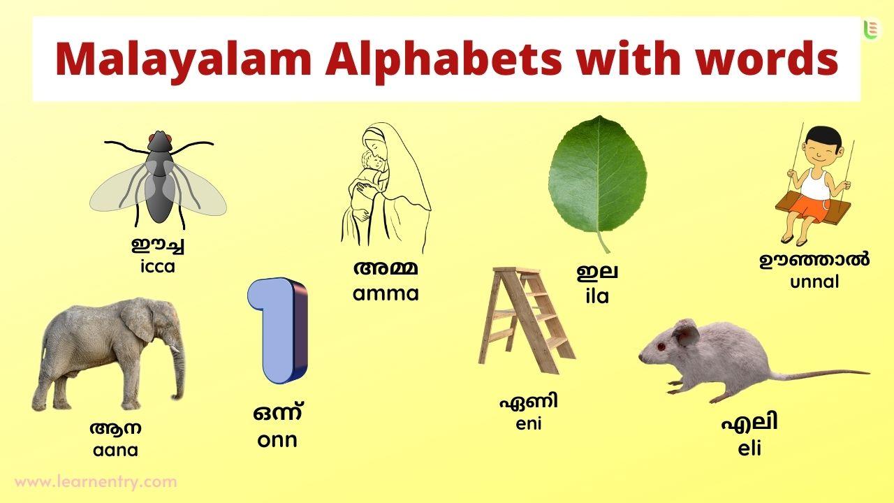 Malayalam alphabet with words