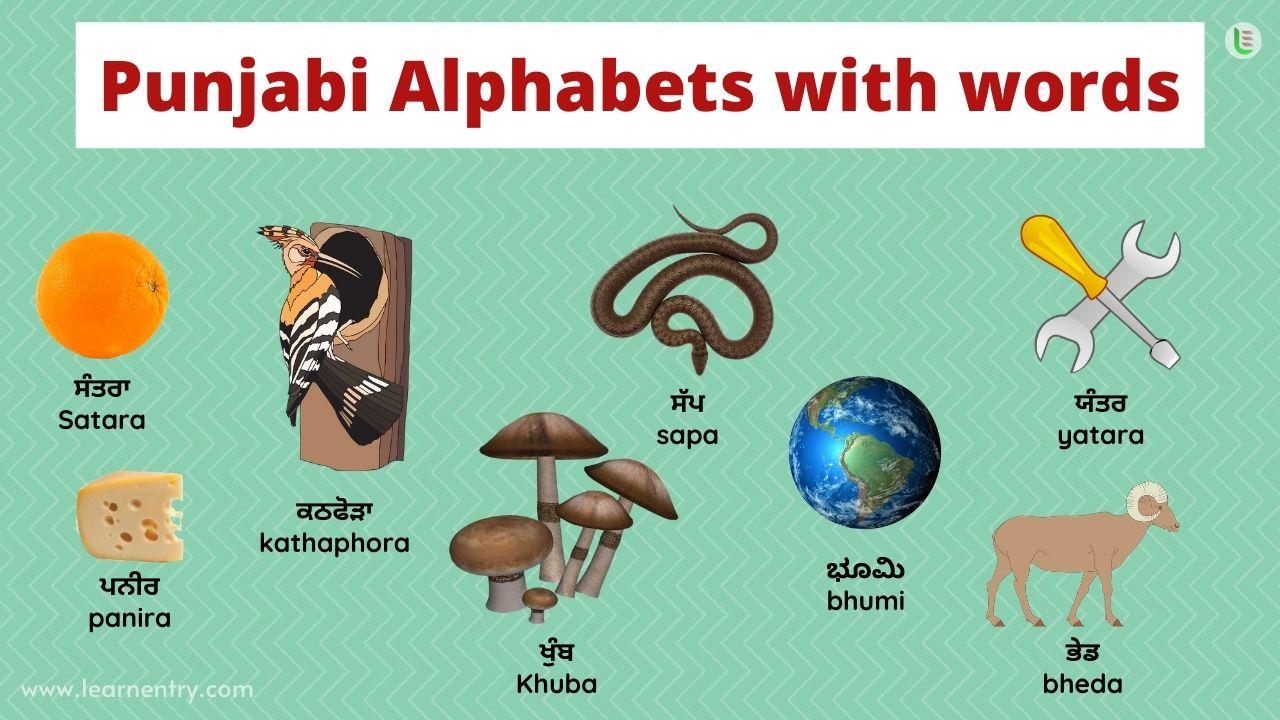 Punjabi alphabet with words