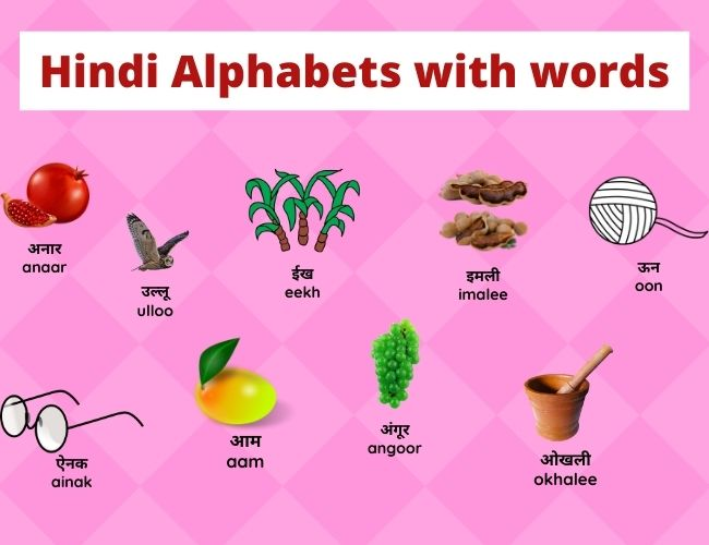 Hindi Alphabets with words