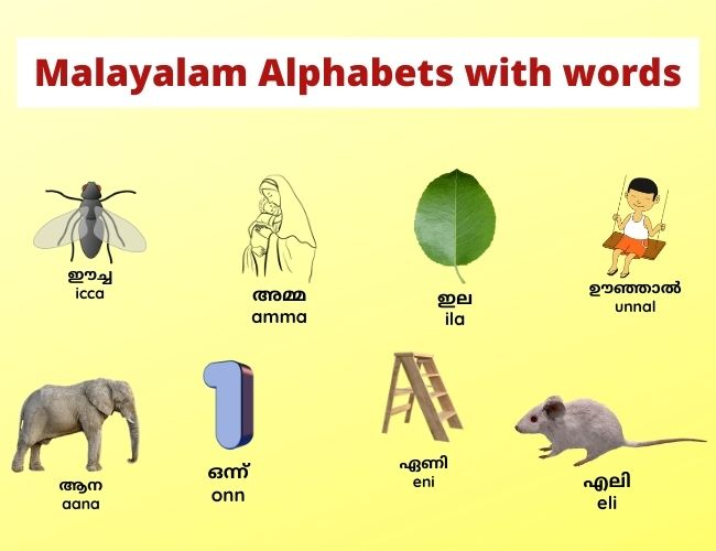 Malayalam Alphabets with words