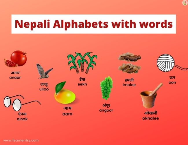 Nepali alphabets with words