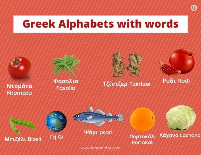 Greek alphabet with words