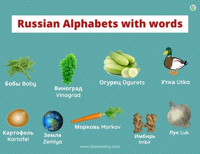 Russian alphabet with words